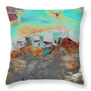 American Indian Home In Abstract Throw Pillow