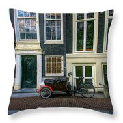 Amsterdam Bike Scene Throw Pillow