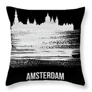 Amsterdam Skyline Brush Stroke White Throw Pillow