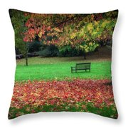 An Autumn Bench At Clyne Gardens Throw Pillow