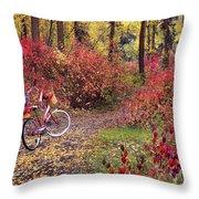 An Autumn Bike Trek Throw Pillow