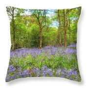 An English Bluebell Wood Throw Pillow