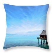 An Exclusive Resort Bungalow Over A Calm Tropical Sea. Throw Pillow