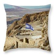 An Israeli Flag Flies Near The Entrance To The Top Of Masada In  Throw Pillow