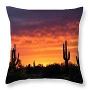 An Orange Glow Fills The Desert  Throw Pillow