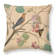 An Orange Headed Ground Thrush And A Moth On A Purple Ebony Orchid Branch, 1778 Throw Pillow