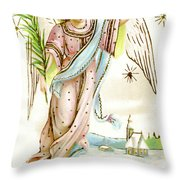 Angel  Carrying A Palm Branch Throw Pillow