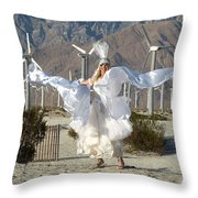 Angel Swirling In The Desert Throw Pillow