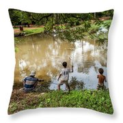 Angkor Fishing Family Throw Pillow