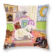 Animal Family 2 Throw Pillow