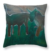 Animals In A Field Throw Pillow