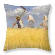 Anna Ancher - Harvesters Throw Pillow