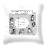 Answers To Last Week's Brain Teasers Throw Pillow