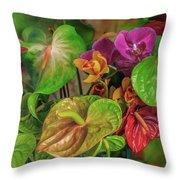 Anthurium Riot Throw Pillow