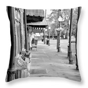 Antique Alley In Black And White Throw Pillow