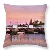 Antique Bridge Of Tavira During Twilight. Portugal Throw Pillow