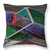 Antique Car Hood With 3d Text Boxes Throw Pillow