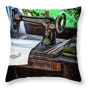 Antique Sewing Machine Throw Pillow