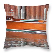 Antique Wooden Boat By Dock 1302 Throw Pillow by Rick Veldman