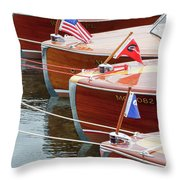 Antique Wooden Boats In A Row Portrait 1301 Throw Pillow by Rick Veldman
