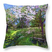 Apple Blossom Trees Throw Pillow
