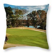 Approaching The 18th Green Throw Pillow