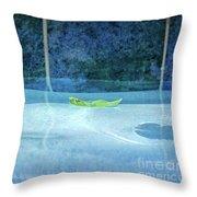 Aqua Agua And Leaf Throw Pillow