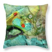 Aqua And Yellow Abstract Art - Juxtaposition - Sharon Cummings Throw Pillow
