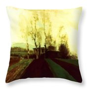 Arable Land Corridors In The Early Spring Throw Pillow