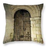 arched door at Fontevraud church Throw Pillow