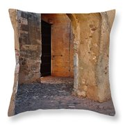 Arches Of A Medieval Castle Entrance In Algarve Throw Pillow