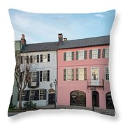 Architectural Photograph Of Rainbow Row On East Bay Street - Charleston South Carolina Throw Pillow
