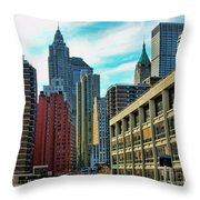 Architecture Nyc From Brooklyn Bridge  Throw Pillow