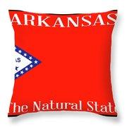Arkansas State License Plate Throw Pillow