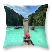 Arriving In Phi Phi Island, Thailand Throw Pillow