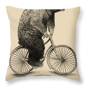 Bears On Bicycles Throw Pillow by Eric Fan
