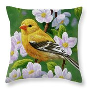 Female American Goldfinch And Apple Blossoms Throw Pillow