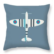 Supermarine Spitfire Fighter Aircraft - Stripe Slate Throw Pillow