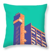 Trellick Tower London Brutalist Architecture - Plain Green Throw Pillow