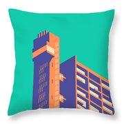 Trellick Tower London Brutalist Architecture - Plain Green Throw Pillow