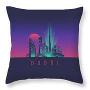 Dubai City Skyline Retro Art Deco Tourism - Night Throw Pillow