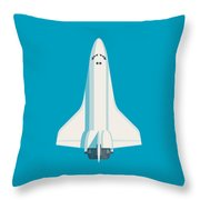 Space Shuttle Spacecraft - Cyan Throw Pillow