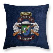 75th Ranger Regiment - Army Rangers Special Edition Over Blue Velvet Throw Pillow