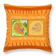 Lion Pair Warm Throw Pillow