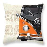 Volkswagen Type 2 - Black And Orange Volkswagen T1 Samba Bus Over Vintage Sketch  Throw Pillow
