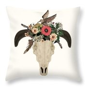Cow Skull Flowers Throw Pillow