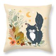 Autumn Garden Moonlit Kitty Cat Throw Pillow