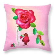 R Is For Rose And Robin Throw Pillow