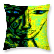 Two Faces - Green - Female Throw Pillow