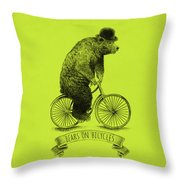 Bears On Bicycles - Lime Throw Pillow